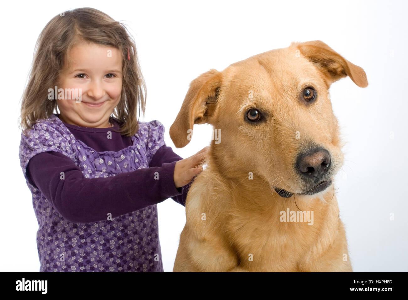 6-year-old girl cuddles retriever's schnauzer hybrid (mr), sechsjähriges Mädchen schmust mit Retriever-Schnauzer Stock Photo