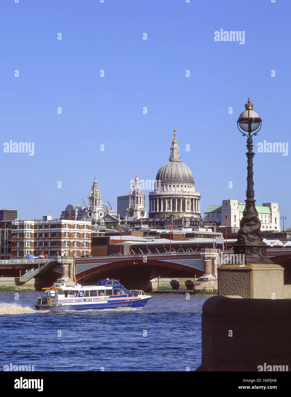 St Paul's Cathedral and Blackfriars Bridge across River Thames, City of London, Greater London, England, United - Stock Image