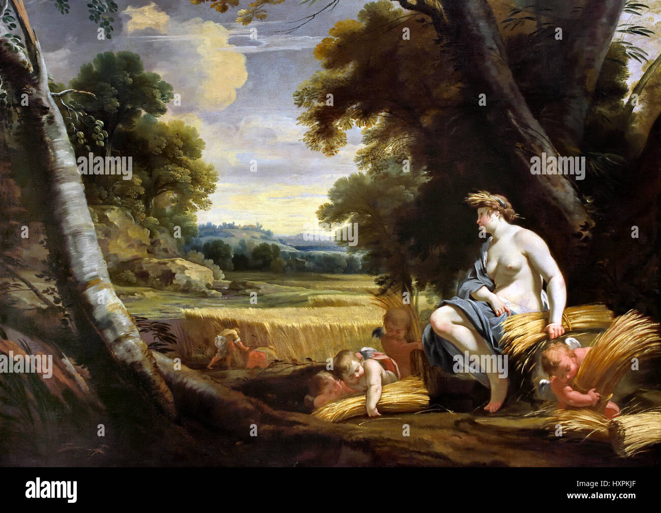 Vouet, Simon 1590 - 1649 Ceres and Harvesting Cupids Simon Vouet and studio 1634-5 France French  ( In ancient Roman - Stock Image