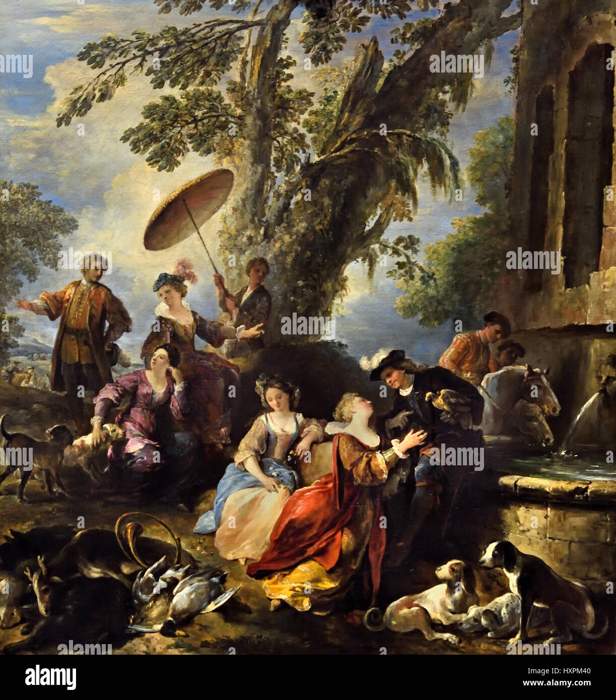 The Return from the Hunt 1700 Joseph Parrocel 1646 - 1704 France French - Stock Image