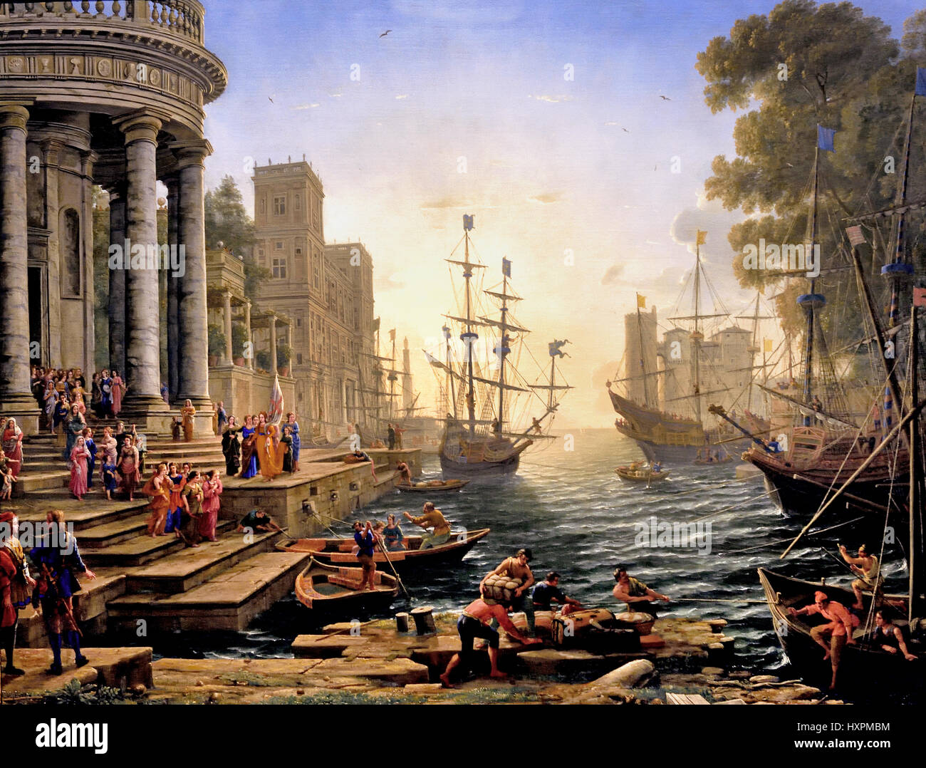 A Seaport 1644 Claude Gellée  1604/5? - 1682 France French ( The artist painted a number of imaginary seaports - Stock Image