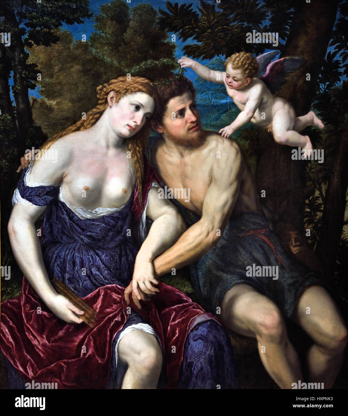 l A Pair of Lovers 1500 - 1571 Paris Bordone 1500 - 1571 Italy Italian ( Daphnis and Chloe ) Greek pastoral romance - Stock Image