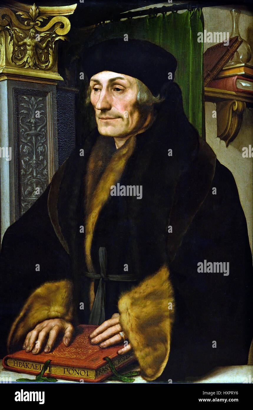 Erasmus 1523 Hans Holbein the Younger 1497-1543 German Germany (  Desiderius Erasmus 1466 – 1536 Dutch Netherlands - Stock Image
