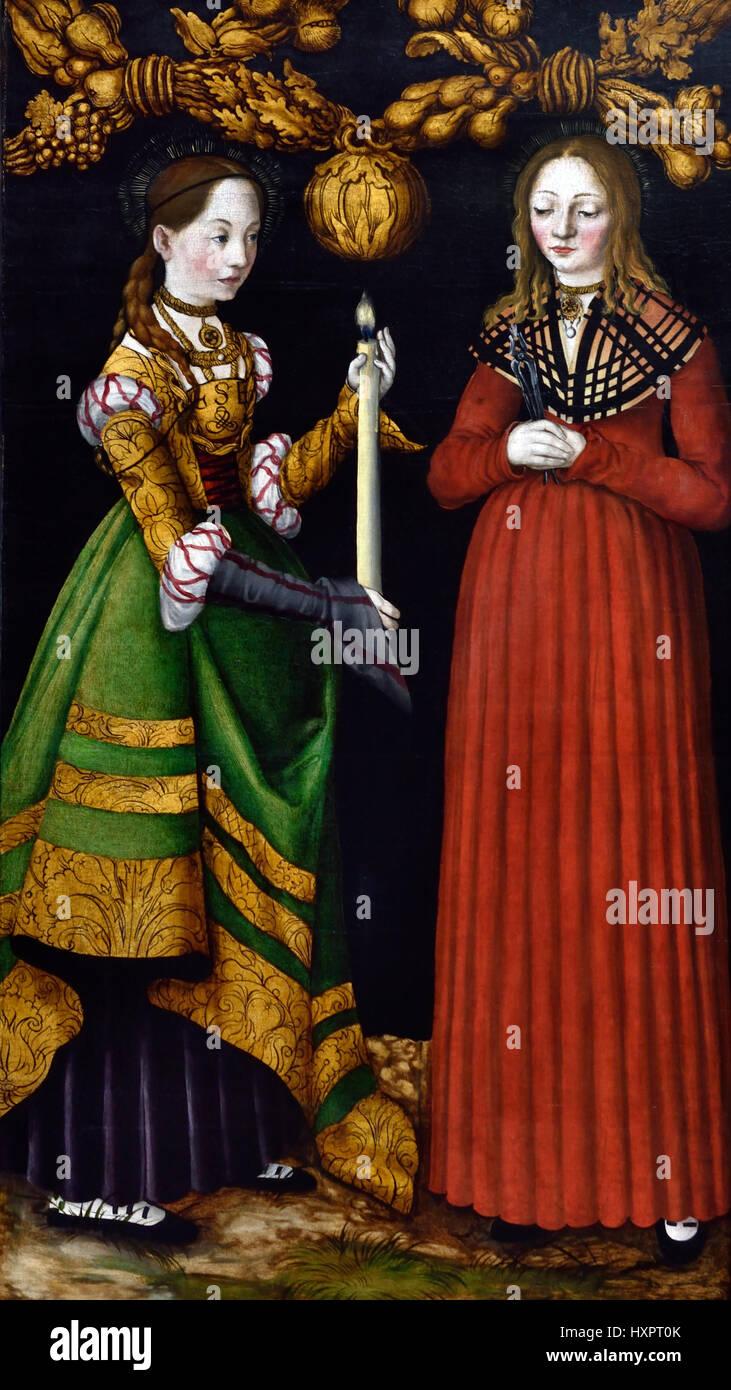 Saints Genevieve and Apollonia 1506  Lucas Cranach the Elder 1472 - 1553 German Germany Stock Photo