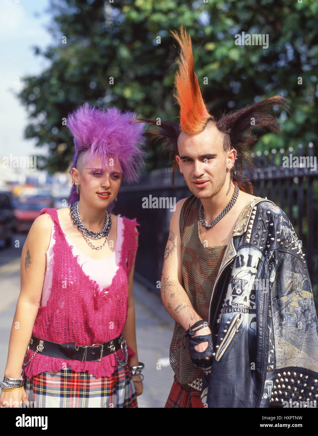 Young Punk couple on street, Fitzrovia, City of Westminster, Greater London, England, United Kingdom - Stock Image