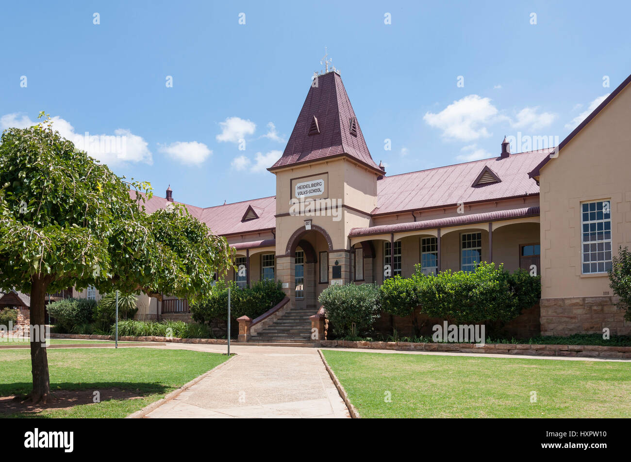 Afrikaans Primary School (Volks-School) building, Begeman Street, Heidelberg, Gauteng Province, Republic of South - Stock Image
