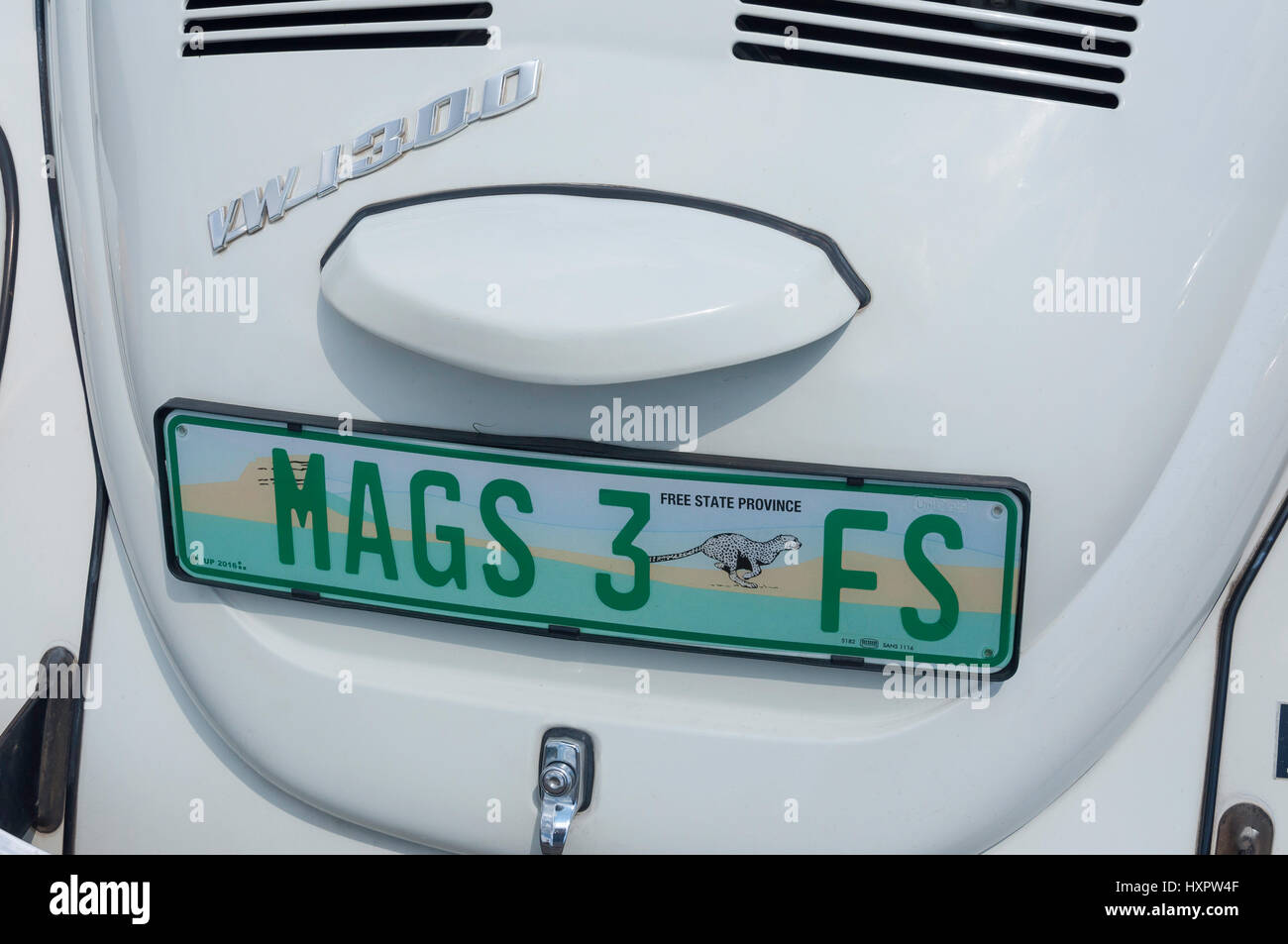 Free State Province number plates on Volkswagon Beetle, Bethlehem, Free State Province, Republic of South Africa - Stock Image