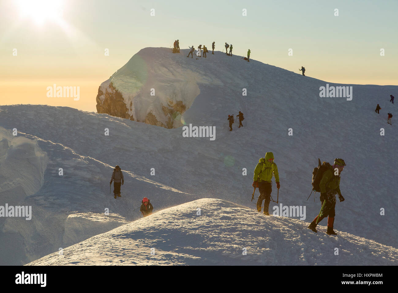 A group of mountaineers on the summit of Mount Hood, Oregon, United States. Stock Photo