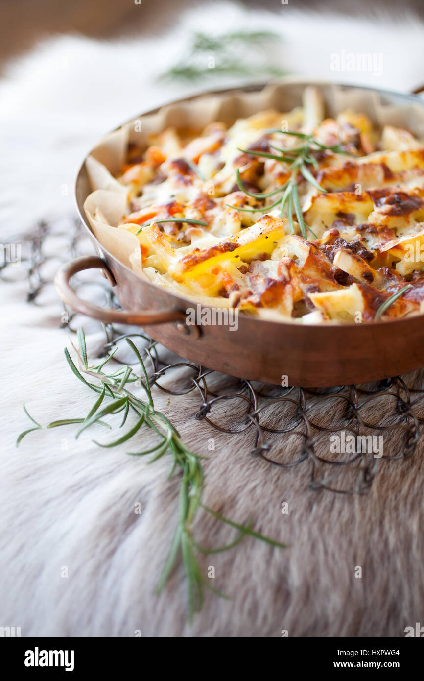 Casserole with reindeer meat and potatoes - Stock Image