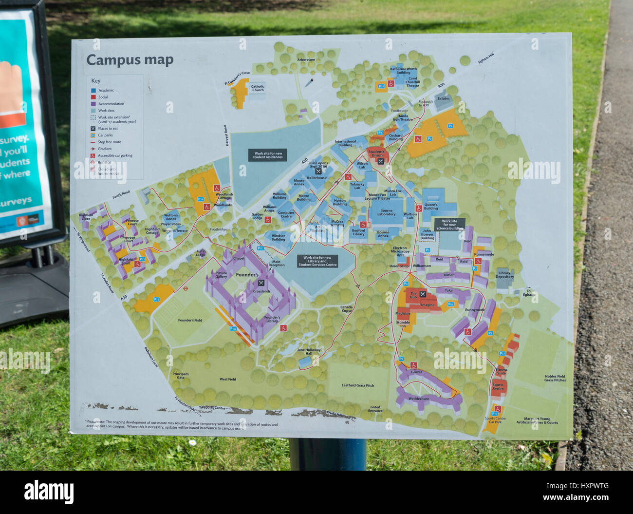 Campus map at Royal Holloway University of London Egham Hill