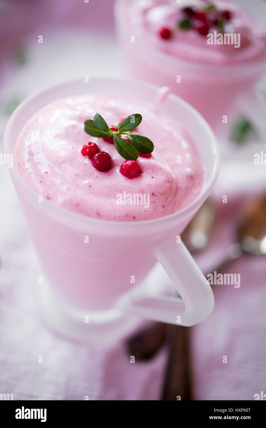 Finnish whipped porridge for dessert - Stock Image