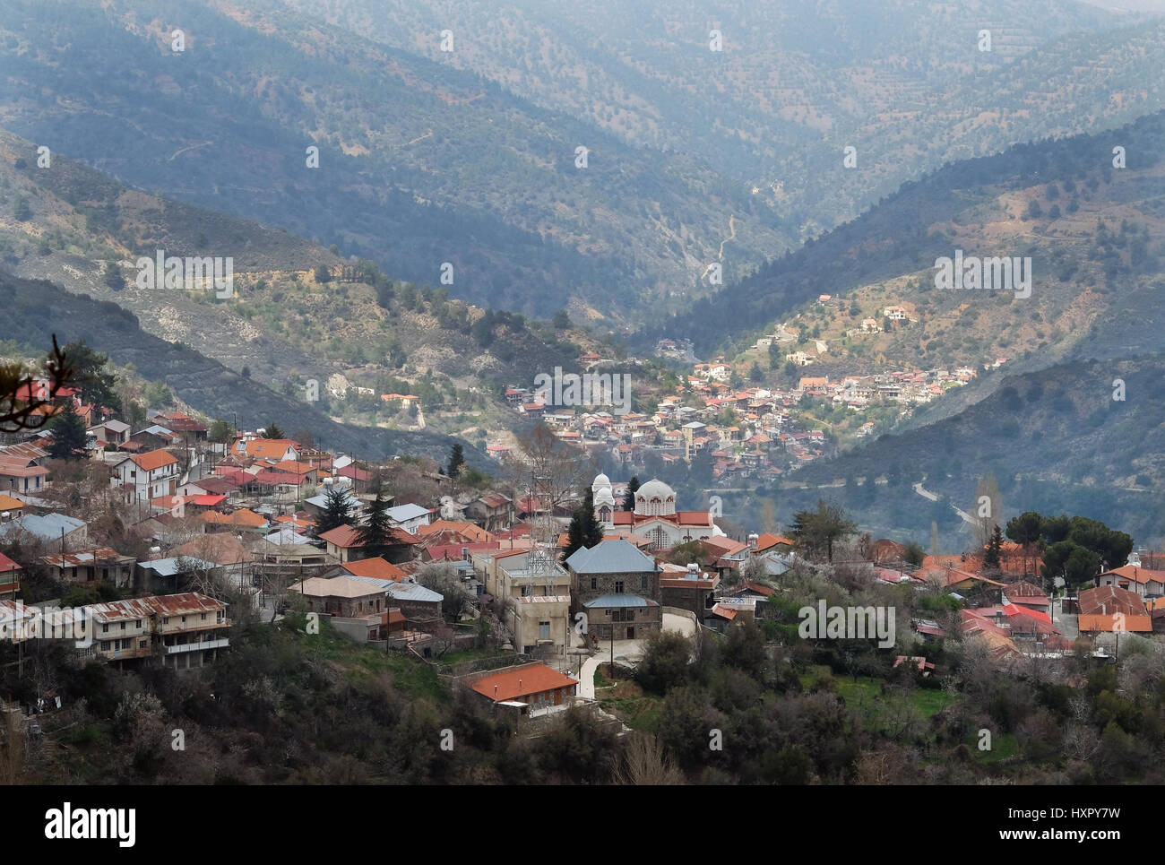 Pedoulas village in the Troodos mountains, Republic of Cyprus - Stock Image