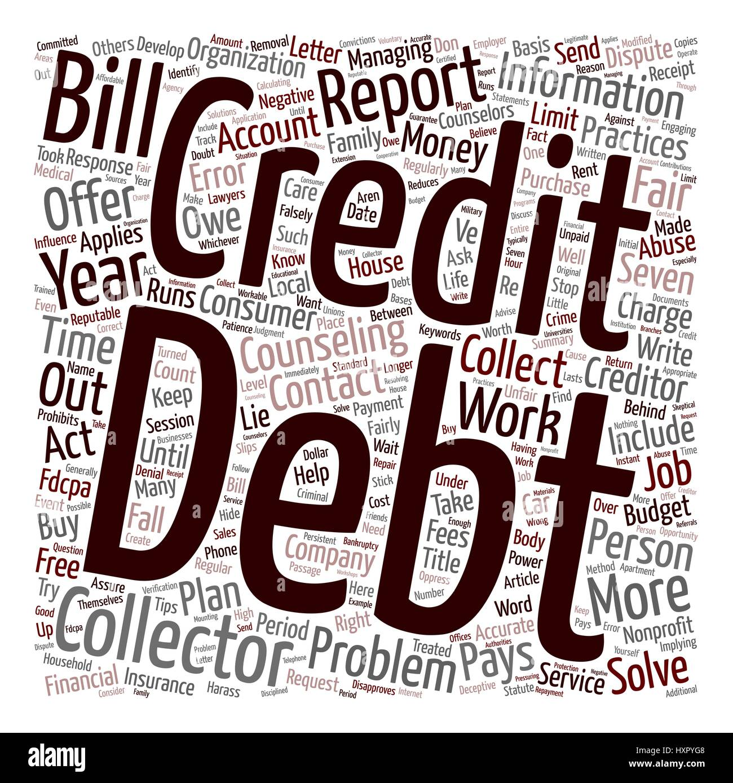 Your Debts and Debt Collectors text background wordcloud concept - Stock Image
