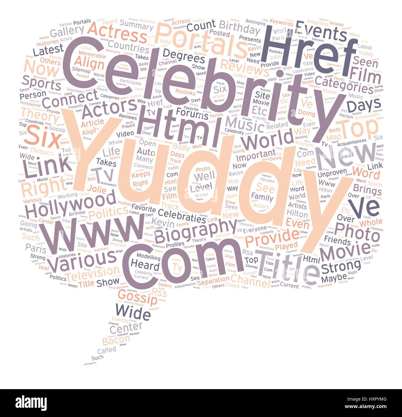 yuddy com provides the celebraties and biography of top Hollywood Actress and Actors text background wordcloud concept Stock Vector
