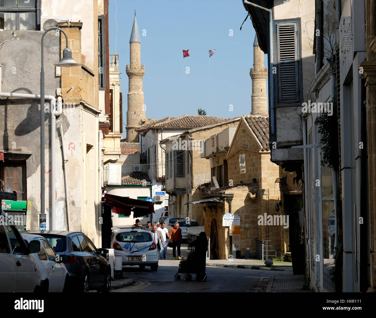 A back street leading to Selimiye Mosque, Northern Nicosia, Cyprus. - Stock Image
