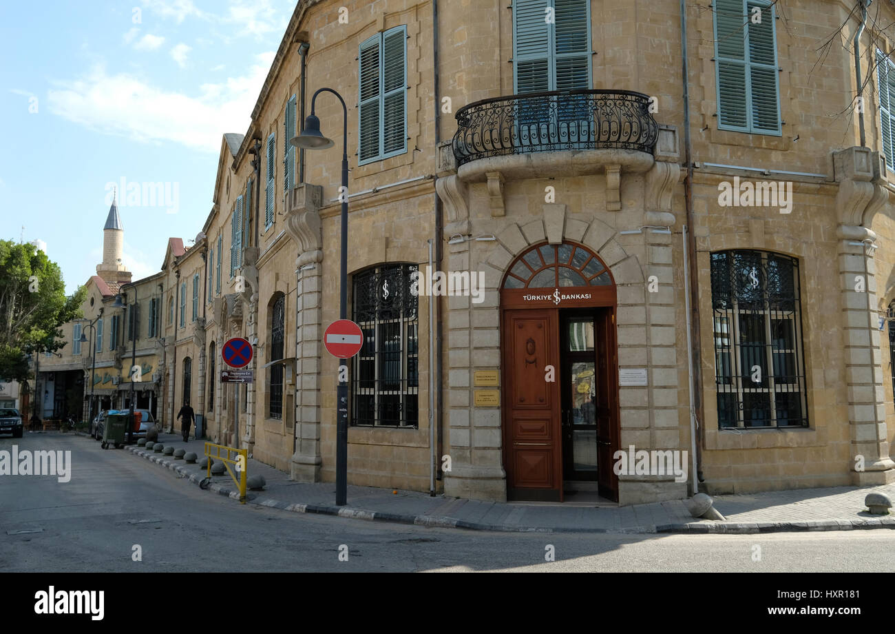 The Turkiye Bankasi in the Turkish area of Northern Nicosia Northern Cyprus. - Stock Image