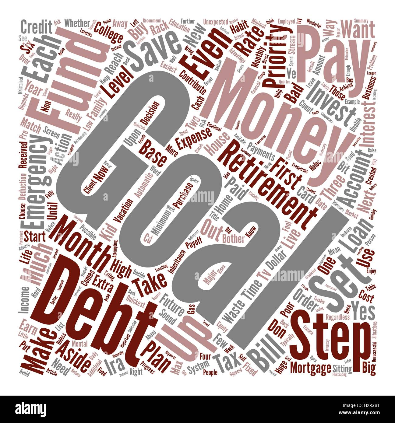 How To Use Your Hard Earned Money To Quickly Reach Your Goals text background word cloud concept - Stock Image