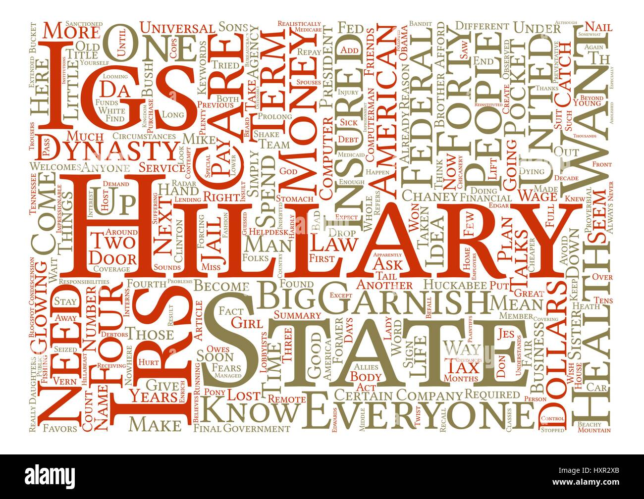 IRS Welcomes Hillary s IGS Word Cloud Concept Text Background - Stock Vector