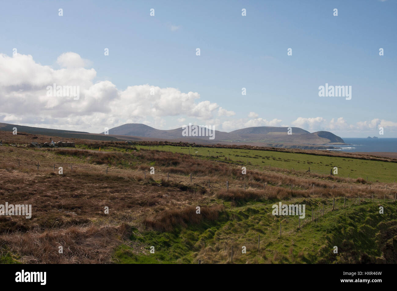 View from the Ceide Fields Visitor Centre across the landscape of County Mayo. - Stock Image