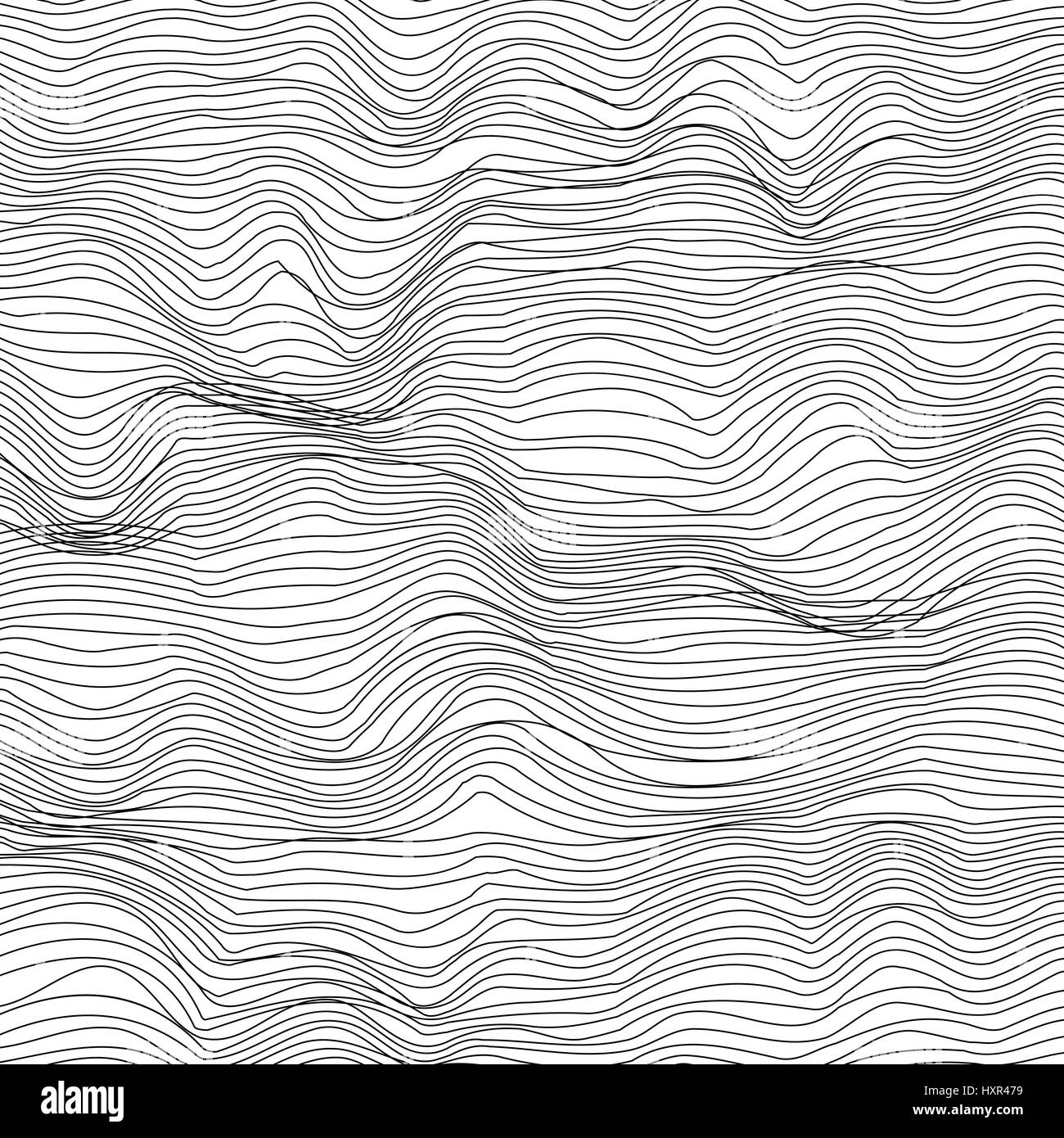 Abstract black and white background wavy geometric lines in modern 3d mesh texture style eps10 vector