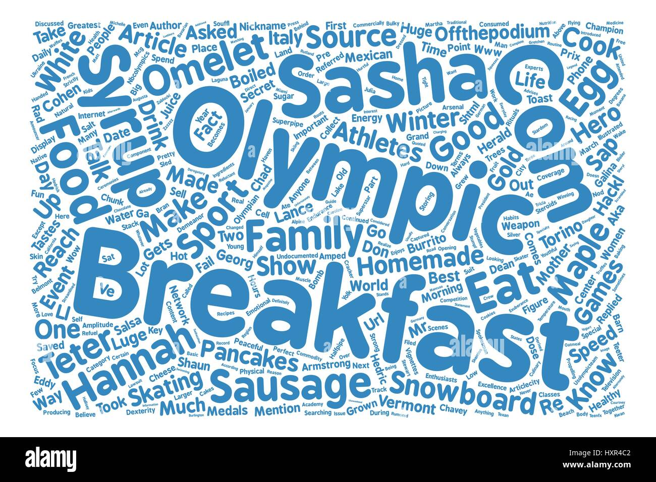 Olympic Breakfast Heroes text background word cloud concept - Stock Vector