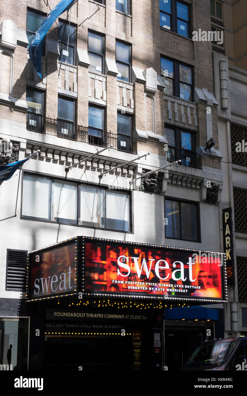 Sweat, a drama that moved from Off-Broadway to Broadway - Stock Image