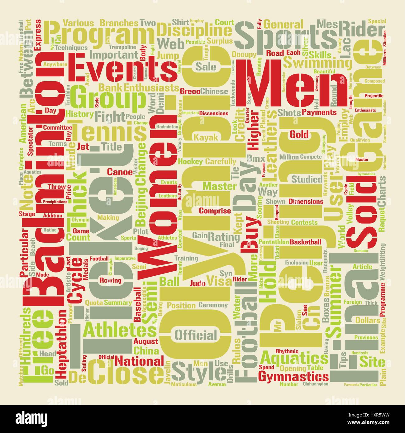 Sports And The Oylmpics Word Cloud Concept Text Background - Stock Vector