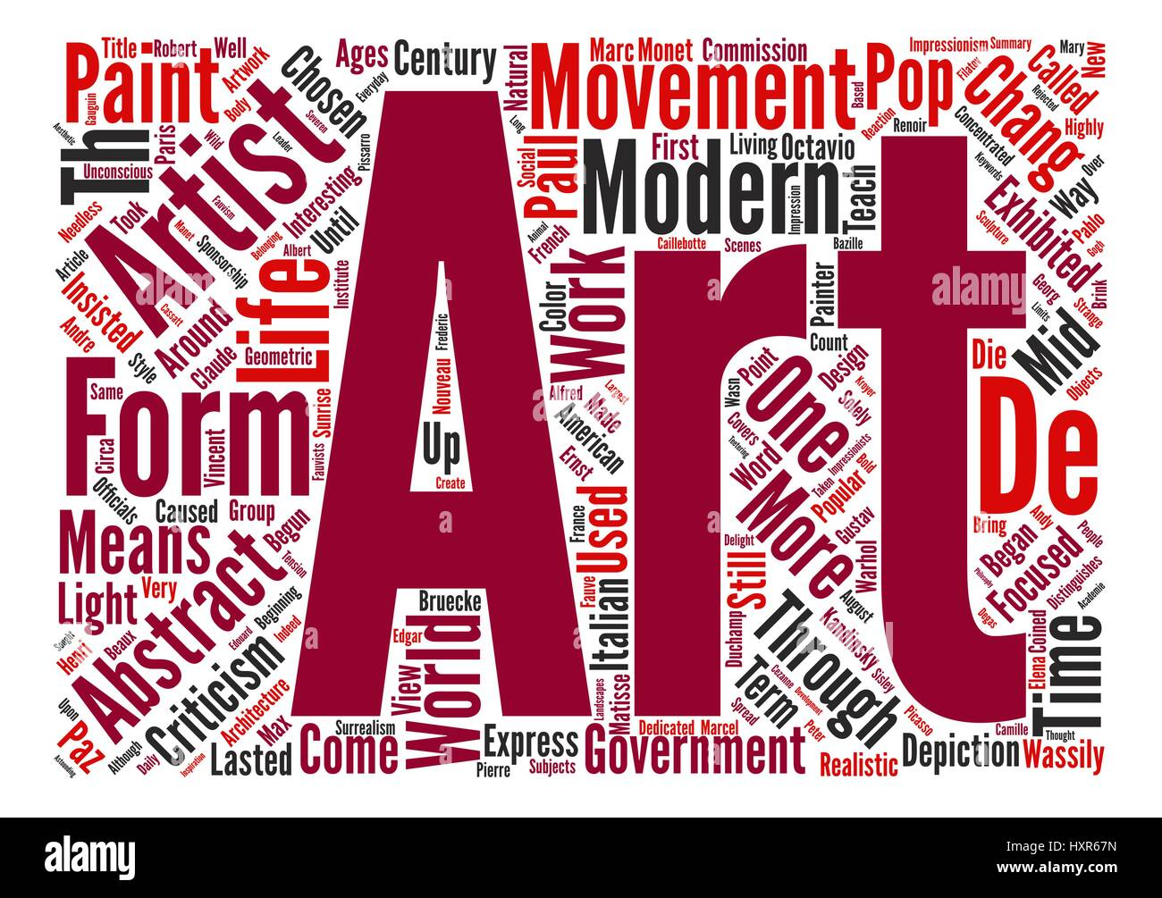 The Modern Art Movements text background wordcloud concept
