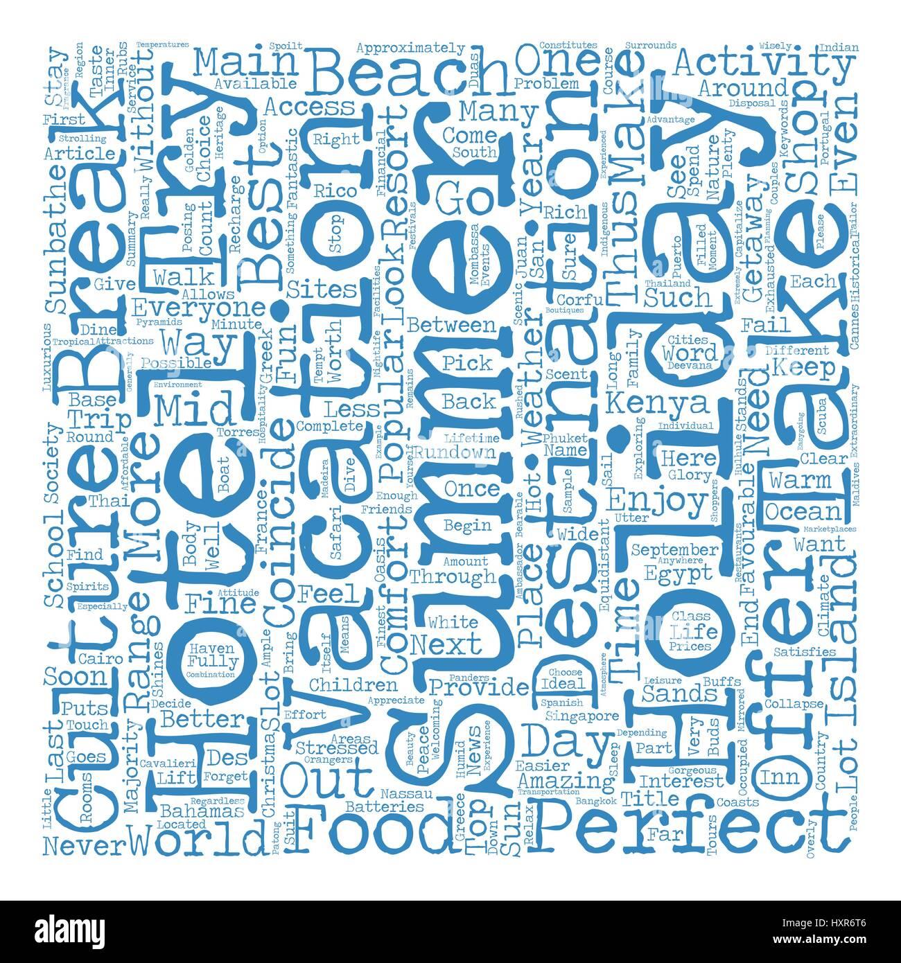 The Top Summer Getaways text background wordcloud concept - Stock Vector