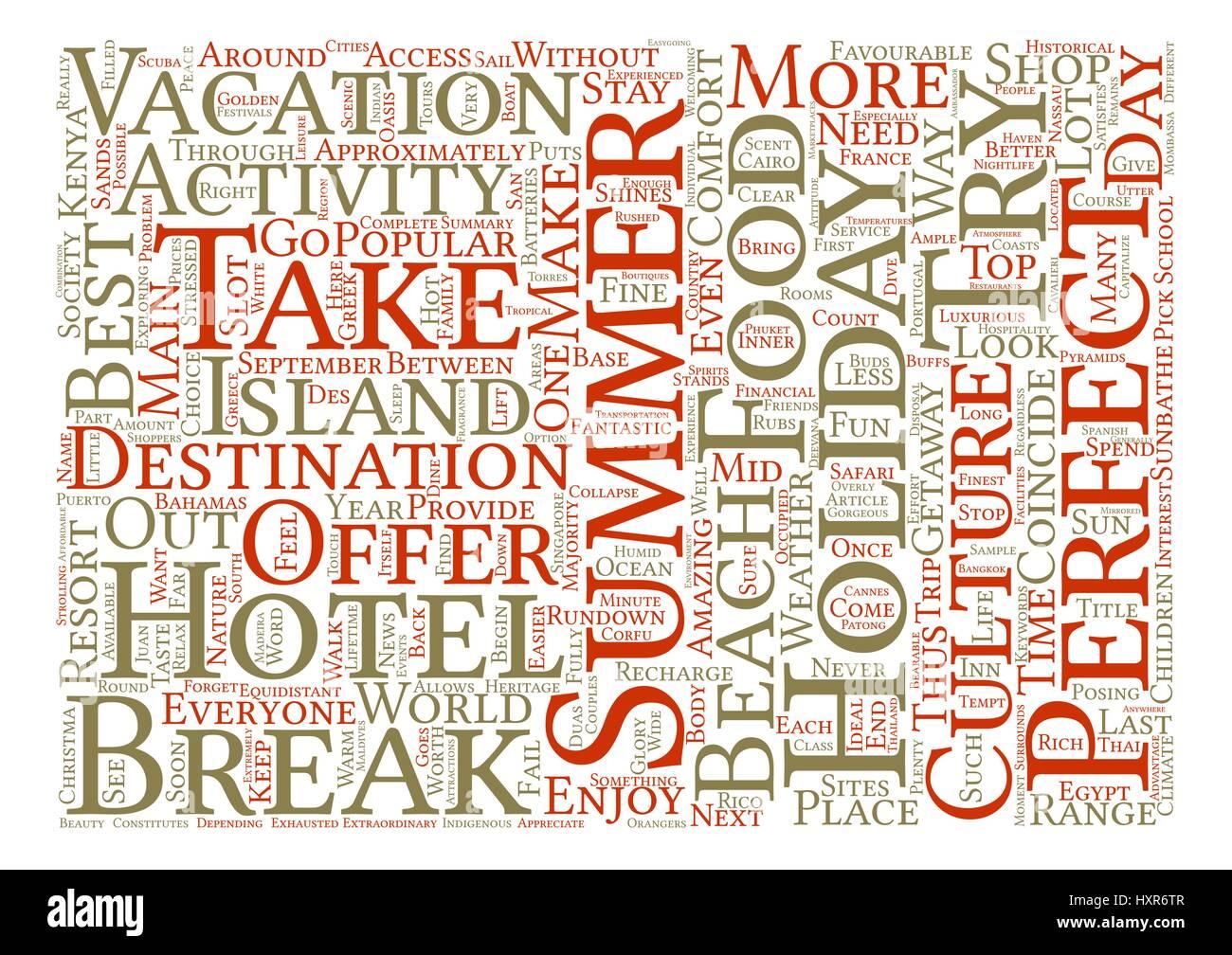 The Top Summer Getaways Word Cloud Concept Text Background - Stock Vector