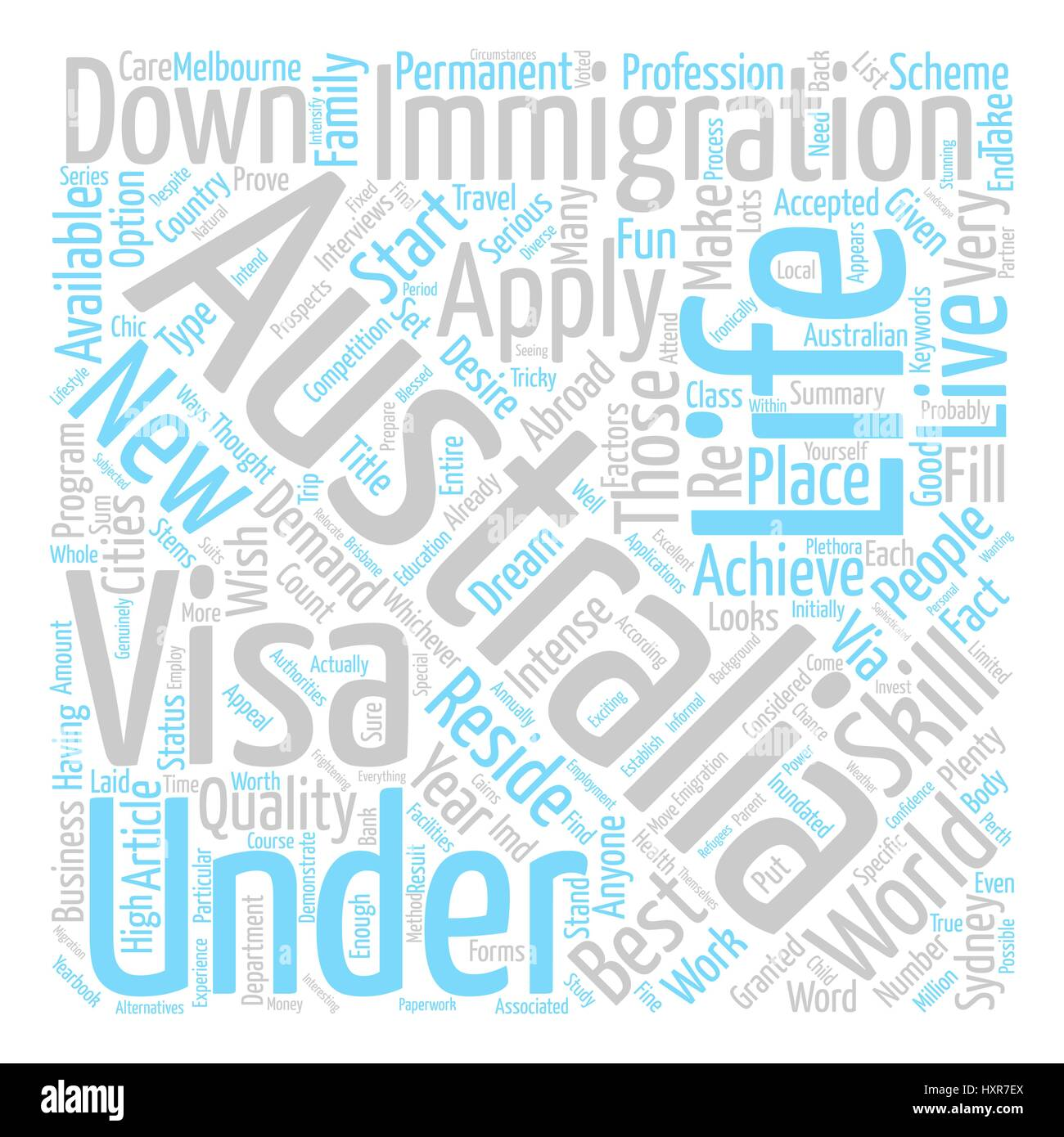 A New Life Down Under text background word cloud concept Stock Vector