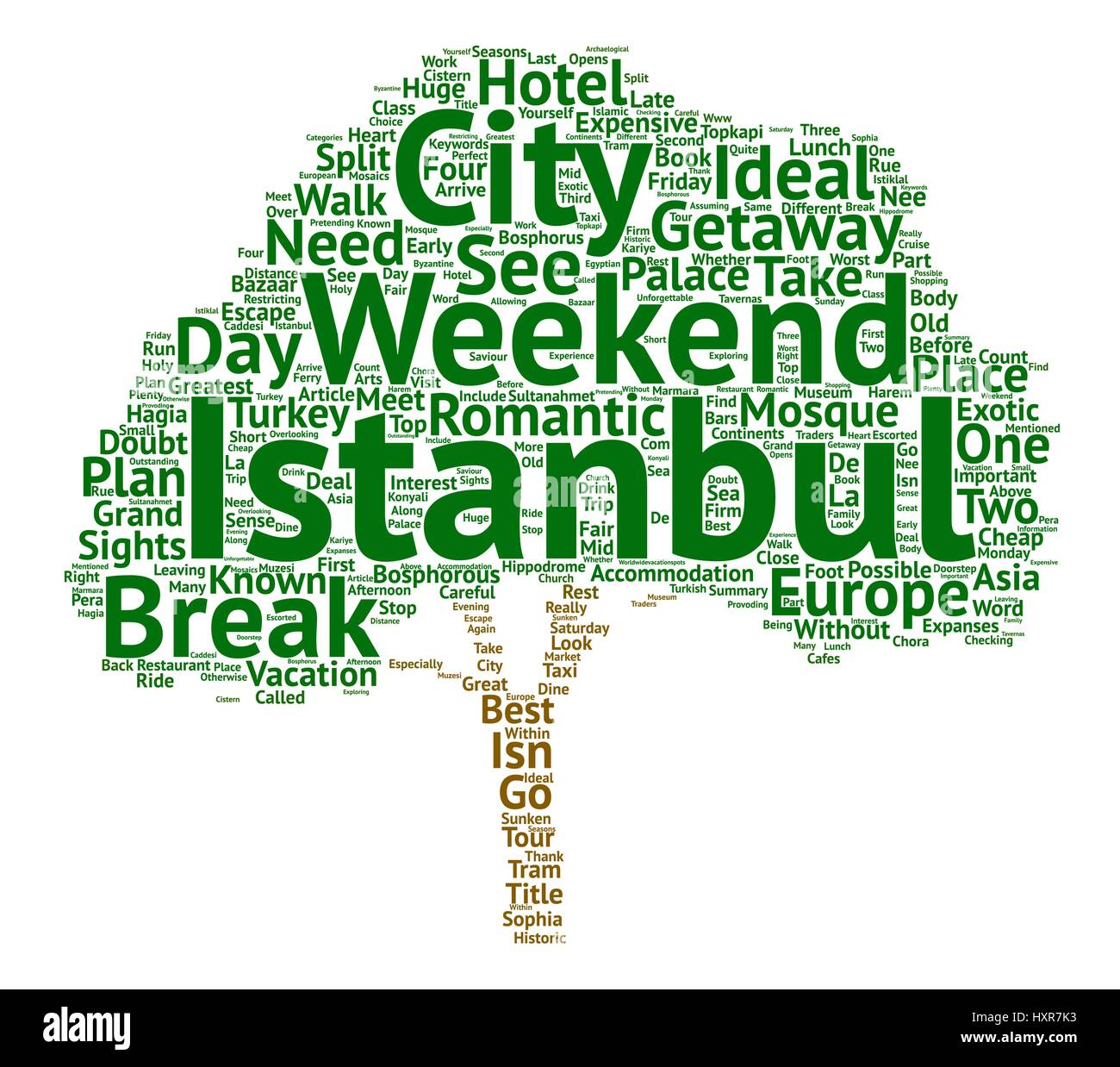 A Weekend City Break In Istanbul text background word cloud concept - Stock Vector