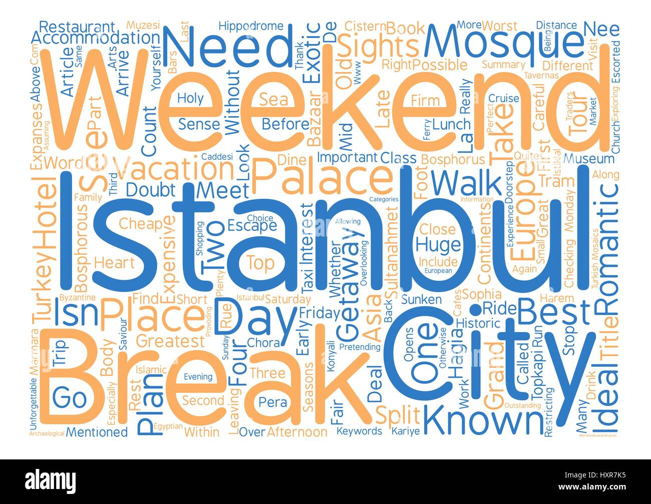 A Weekend City Break In Istanbul Word Cloud Concept Text Background - Stock Vector