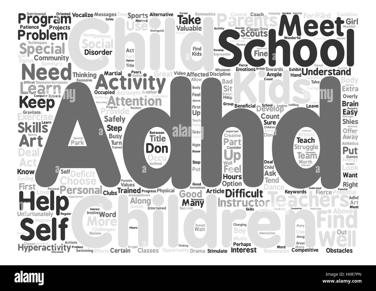 Adhd After School text background word cloud concept - Stock Vector