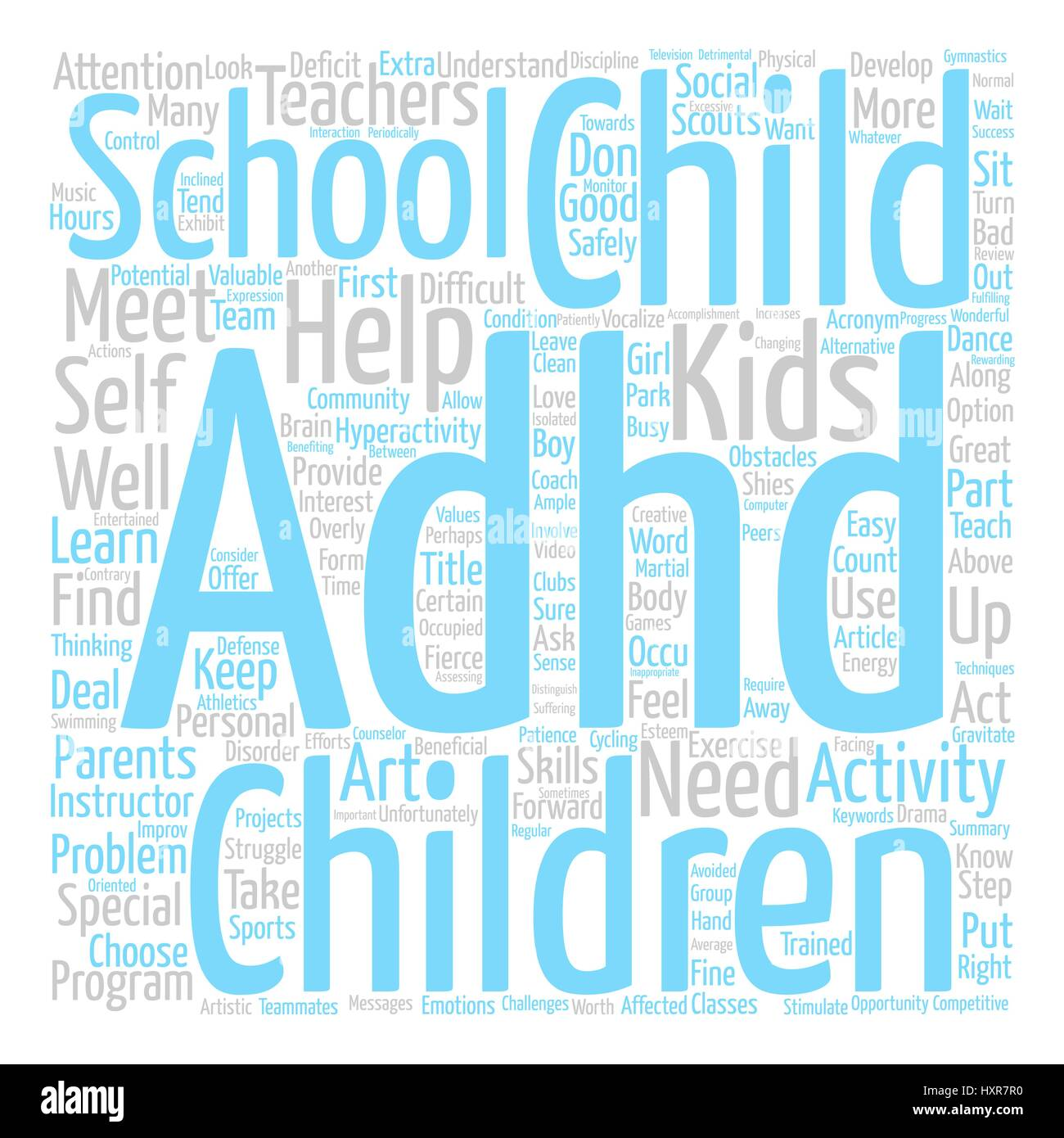 Adhd After School Word Cloud Concept Text Background - Stock Vector