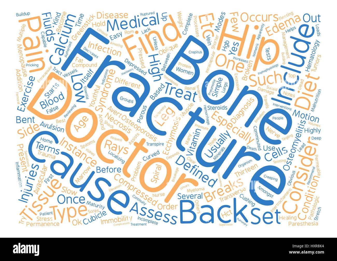 Back Pain and Fractures Word Cloud Concept Text Background - Stock Vector