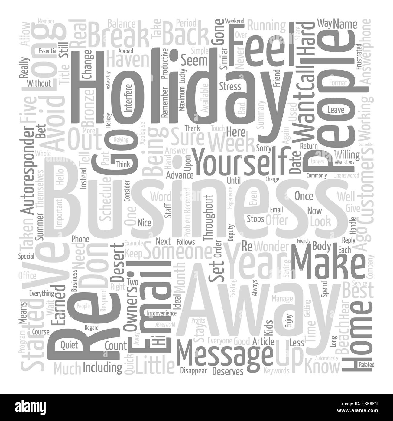 Balance Your Holidays Business Word Cloud Concept Text Background - Stock Image