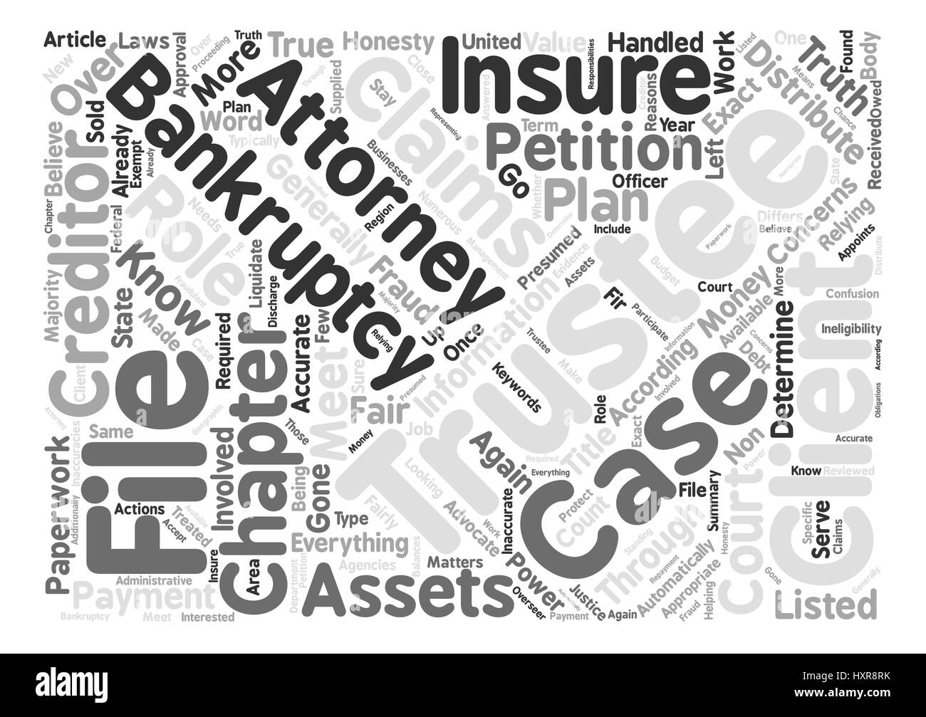 Bankruptcy Trustee Is Advocate For Creditors Word Cloud Concept Text Background - Stock Image