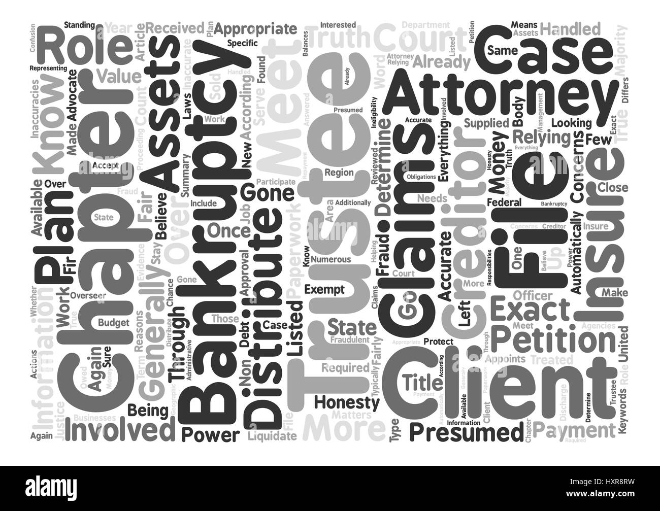 Bankruptcy Trustee Is Advocate For Creditors text background word cloud concept - Stock Image