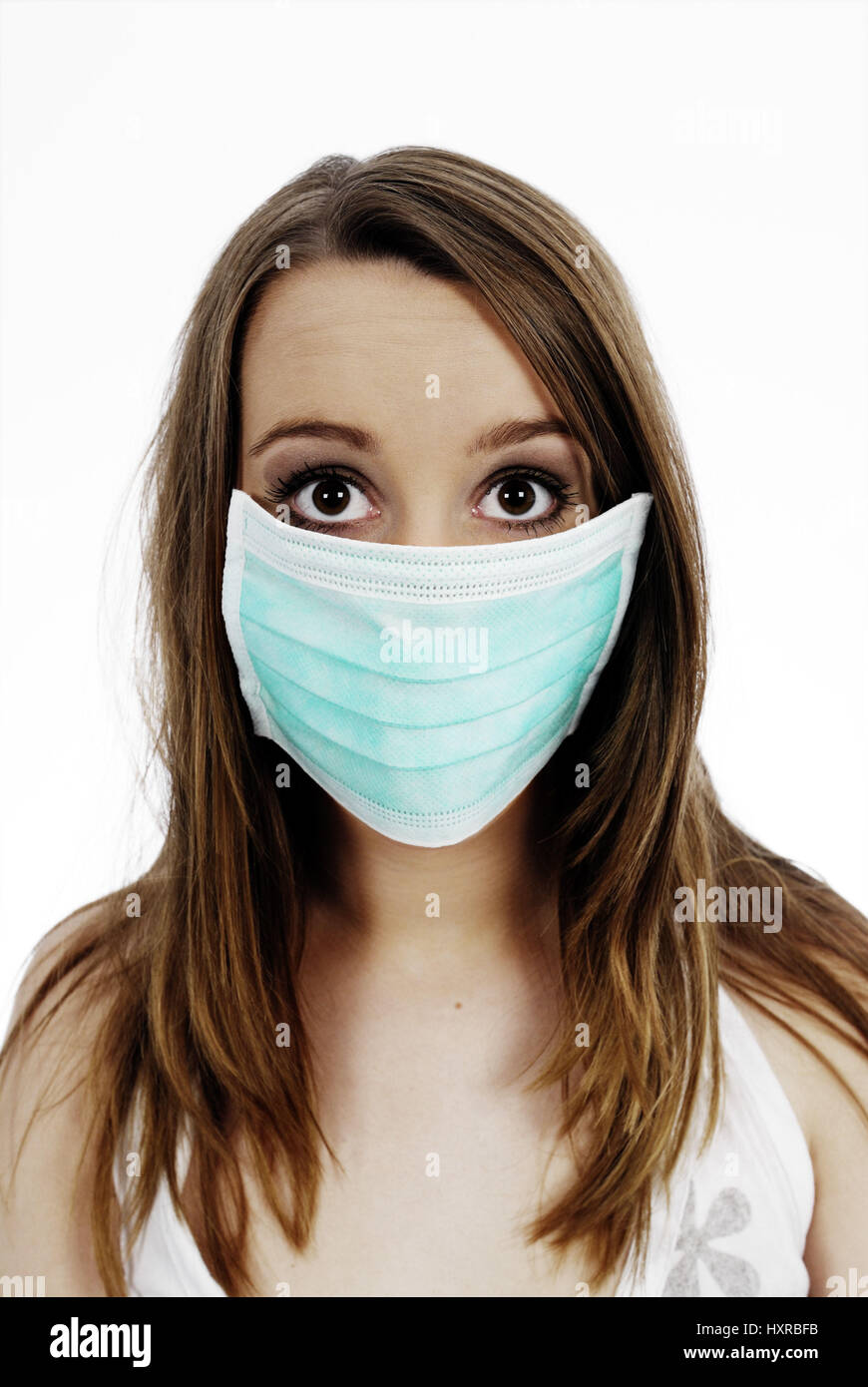 Woman with mask, pork influenza, Frau mit Mundschutz, Schweinegrippe Stock Photo