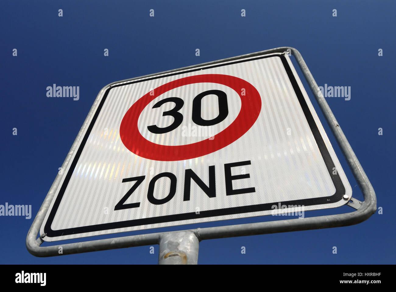 Tempo 30 Zone Stock Photo