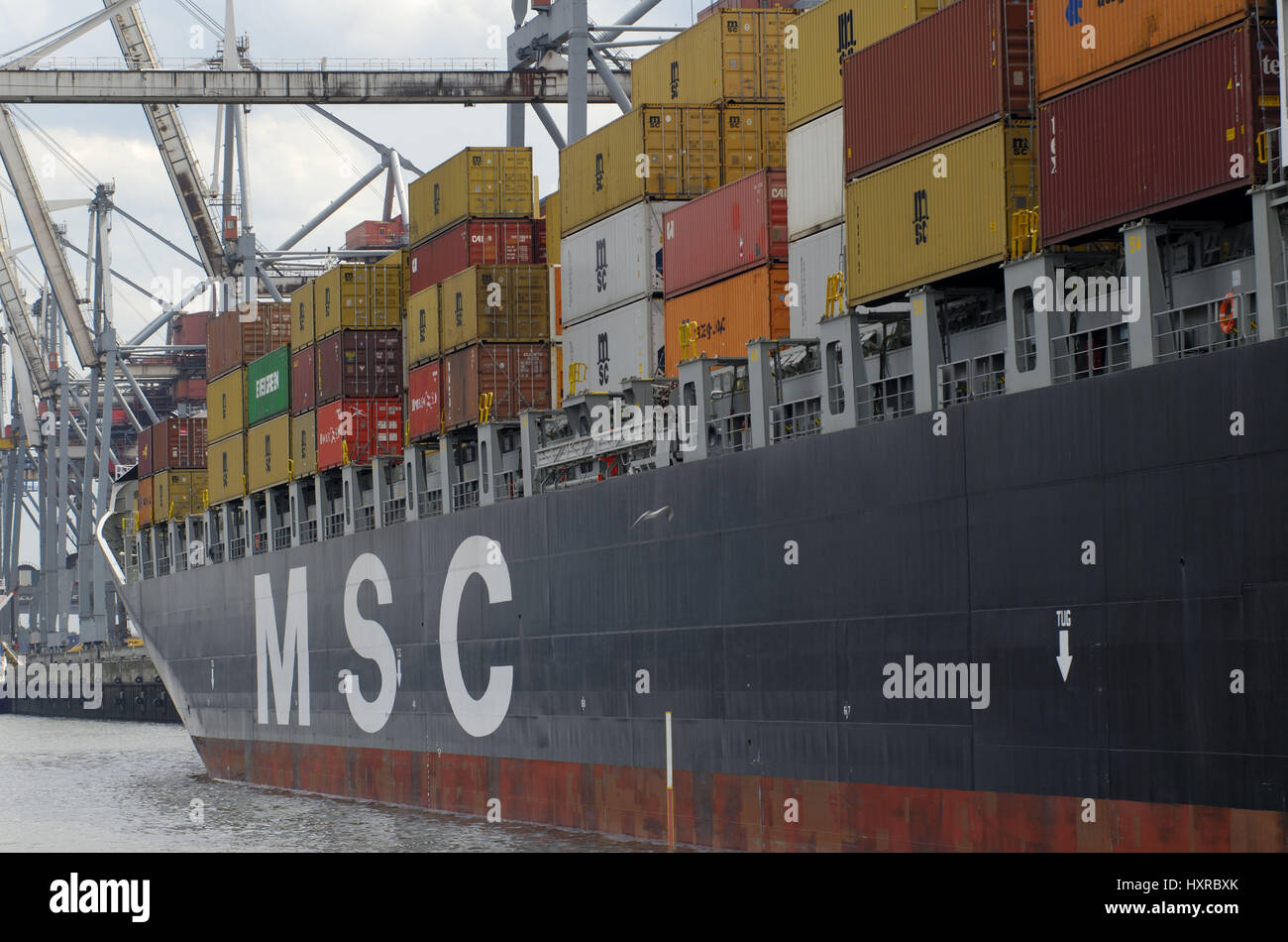 Germany, Hamburg, hamburger, harbour, harbour economy, economy, export, exports, harbours, container giant, container - Stock Image