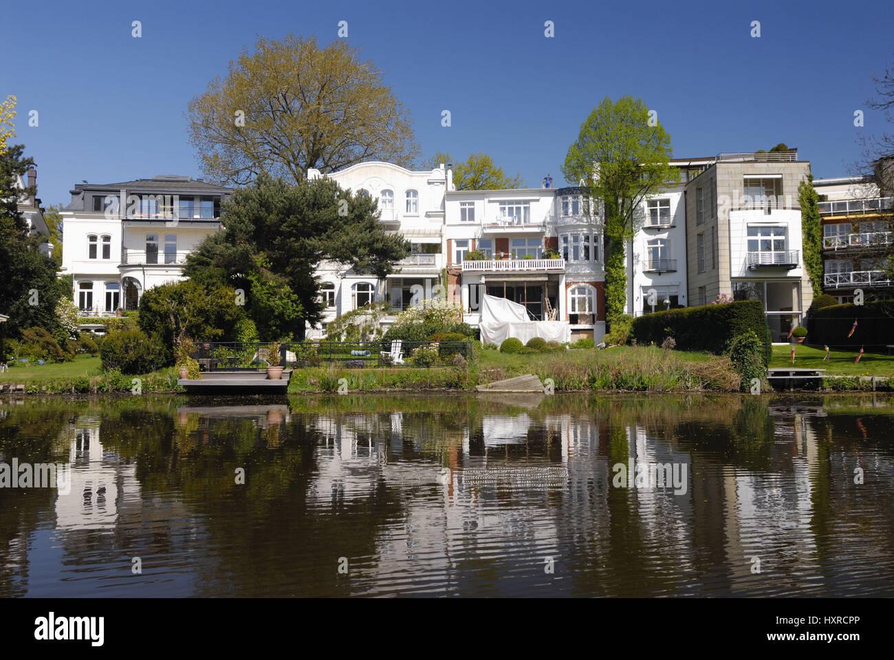 Villas in the Rondeelteich in Winterhude, Hamburg, Germany, Europe ...