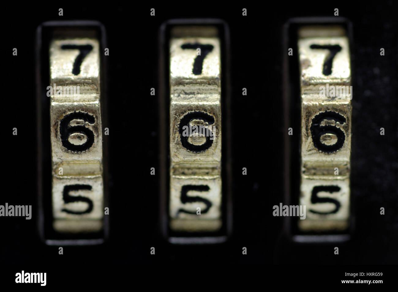 Combination lock, combination locks, secret, secrets, castle, castles, figures, number, numbers, numerical order, - Stock Image