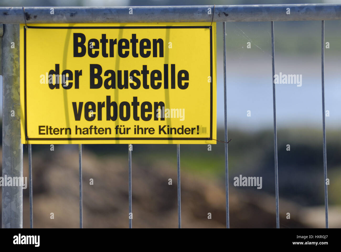 Entrance of the building site forbade, Betreten der Baustelle verboten Stock Photo
