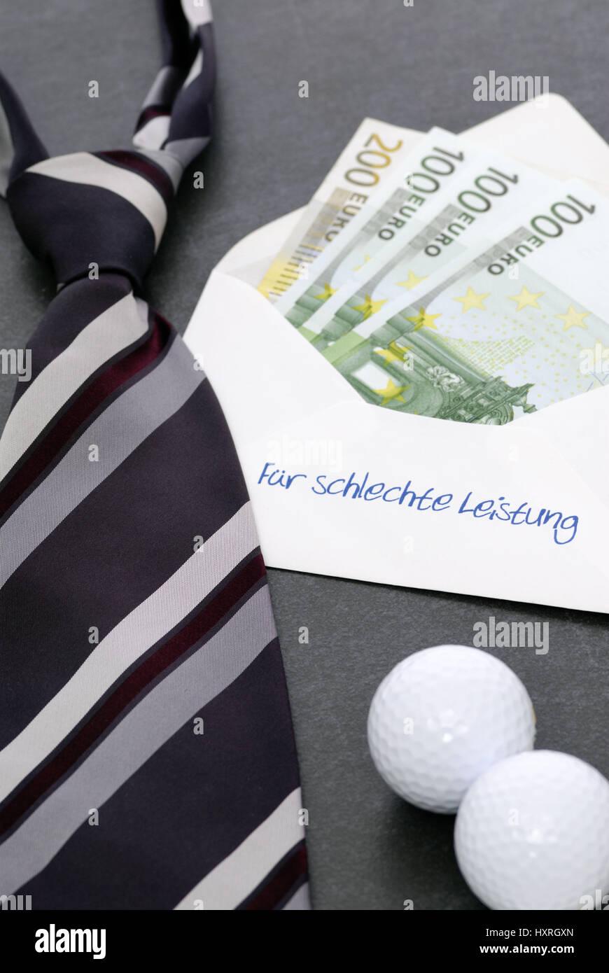 For bad achievement, envelope with label and bank notes, banker's bonus, Für schlechte Leistung, Briefumschlag - Stock Image