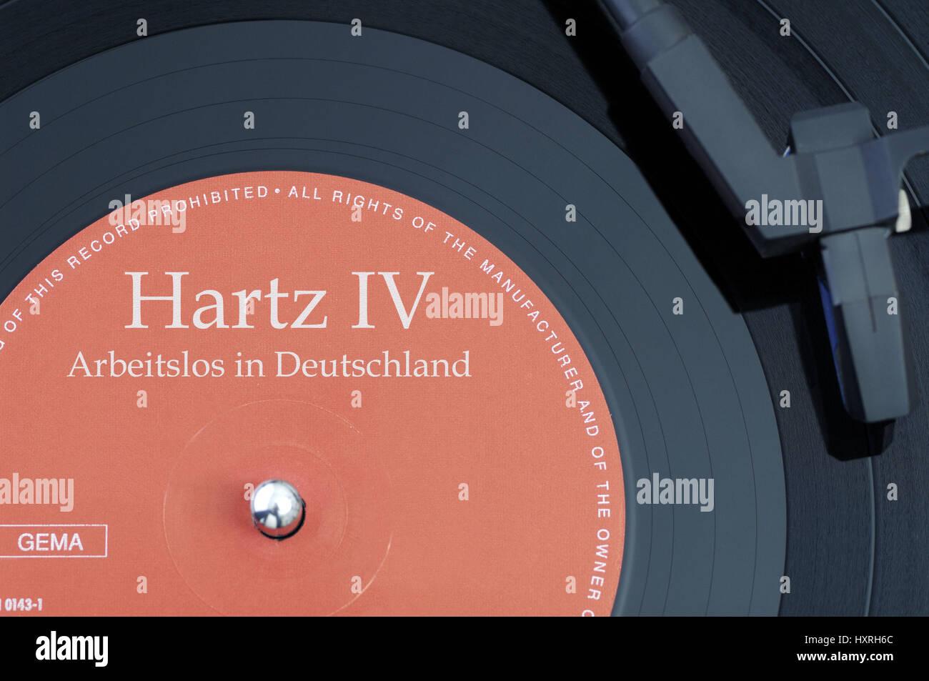 Record with the label Hartz IV, Jobless in Germany, Schallplatte mit der Aufschrift Hartz IV, Arbeitslos in Deutschland - Stock Image