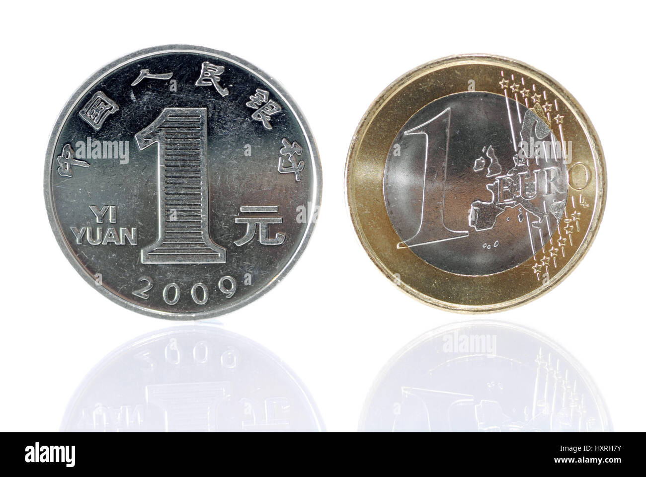 One-yuan coin (Chinese currency) and euro-coin one, economic development in China and Europe, Ein-Yuan-Münze - Stock Image