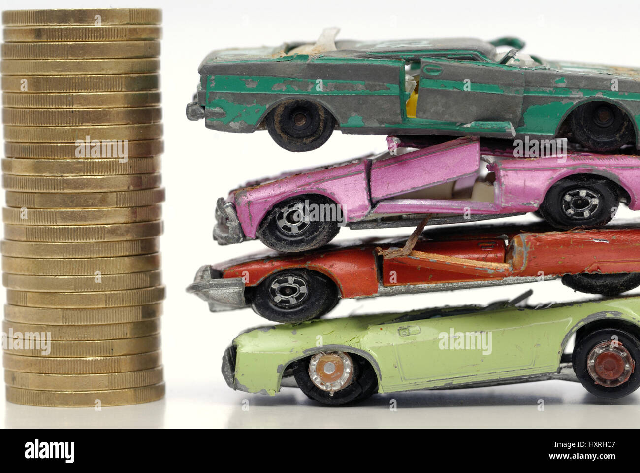 Car, cars, miniature car, miniature cars, broken, broken, scrapped, scraps, old, old, scrapping premium, cash for clunkers, environmental premium, mon Stock Photo
