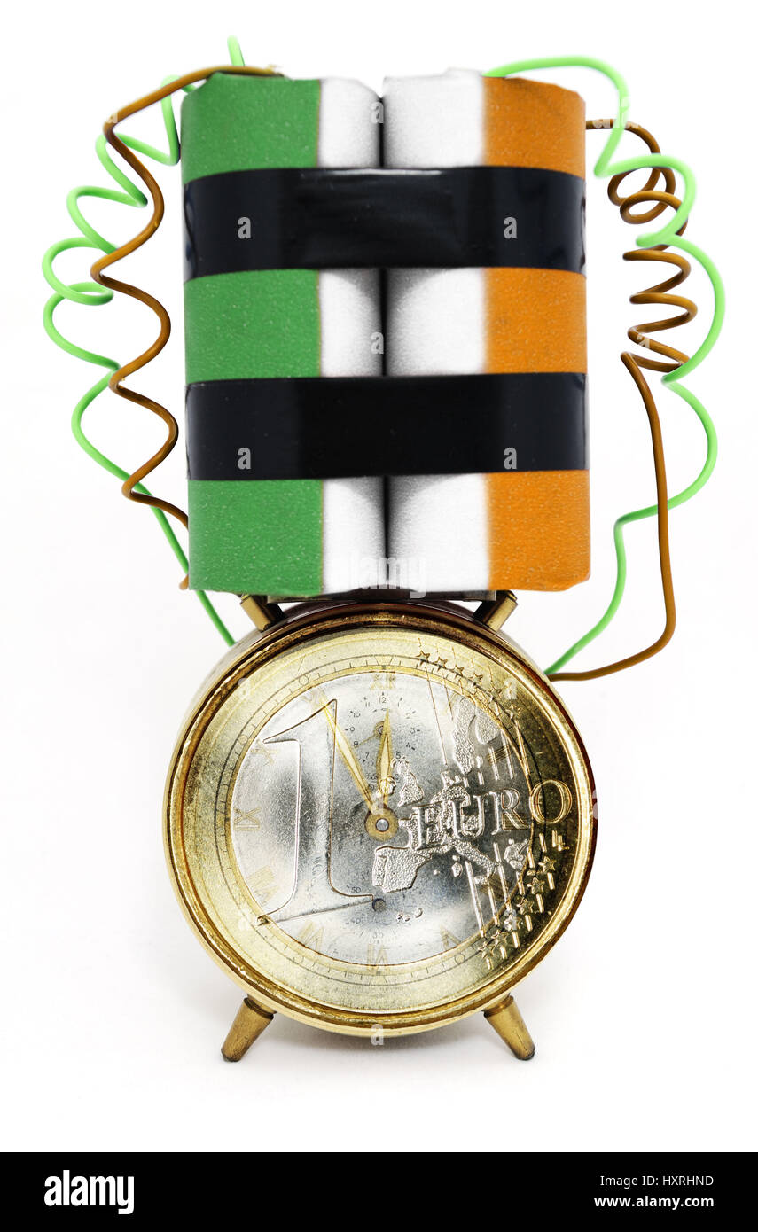 Time bomb in Irish national colours and euro, state deficit Ireland, Zeitbombe in irischen Nationalfarben und Euro, - Stock Image